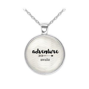 Adventure Awaits Word Art Boho Silver Glass Pendant Necklace New 20 Inch